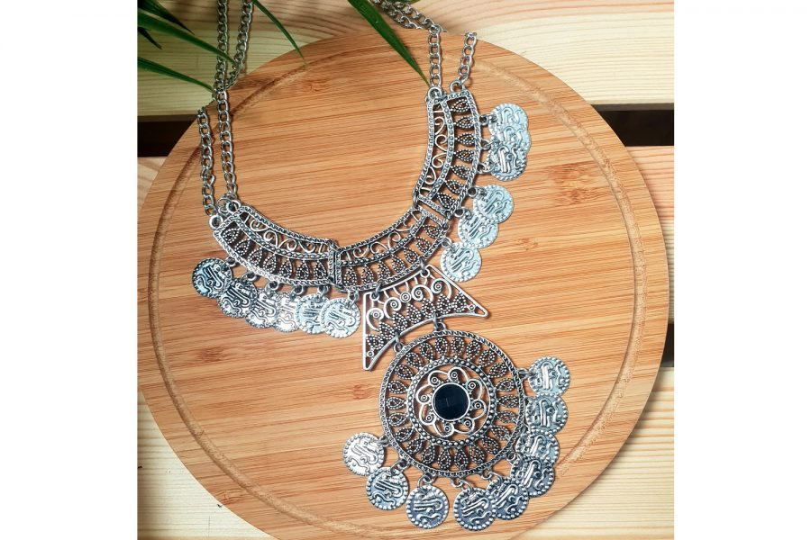Bohemian Gypsy Look Coin Statement Necklace