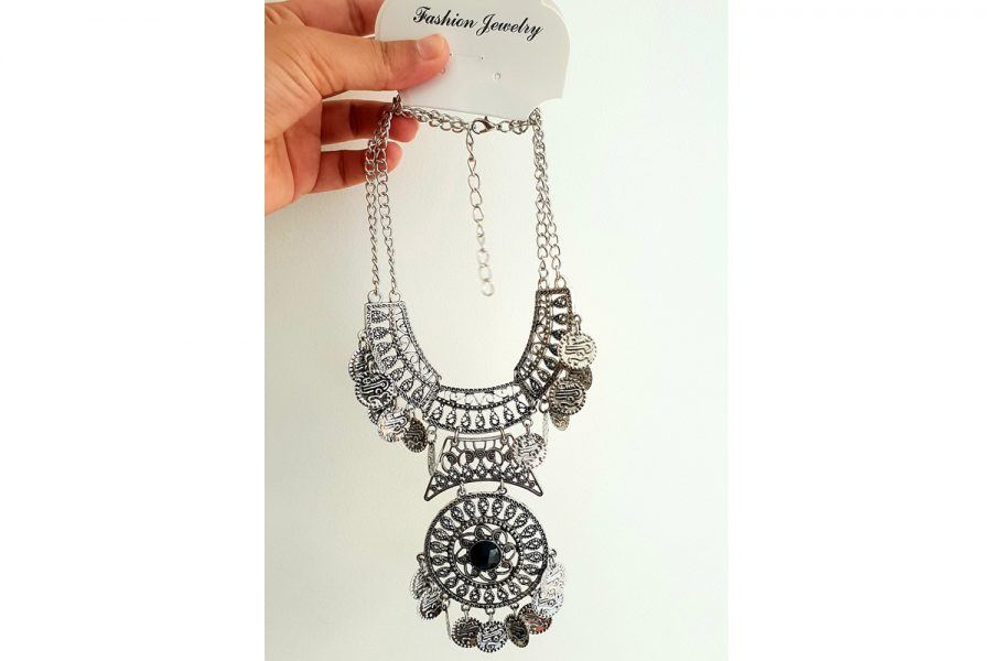 Bohemian Gypsy Look Coin Statement Necklace Front
