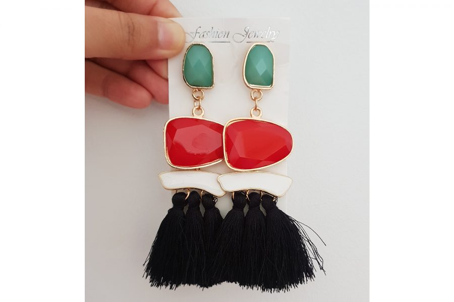 Bohemian Style Long Tassel Earrings with Elegant Beads Front view