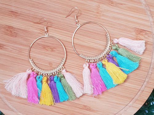 Boho Chic Style Multi-coloured Tassel Earrings