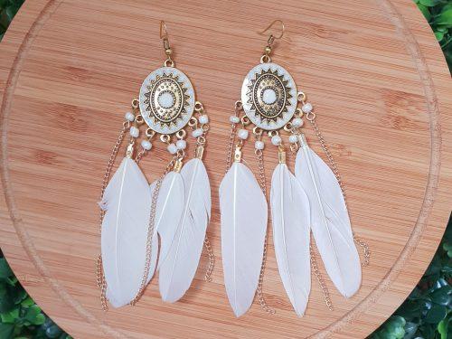 Boho Style Feather Dangle Long Earrings