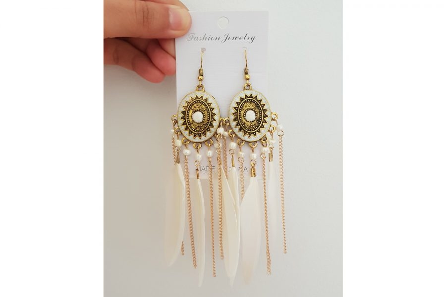 Boho Style Feather Dangle Long Earrings Front View