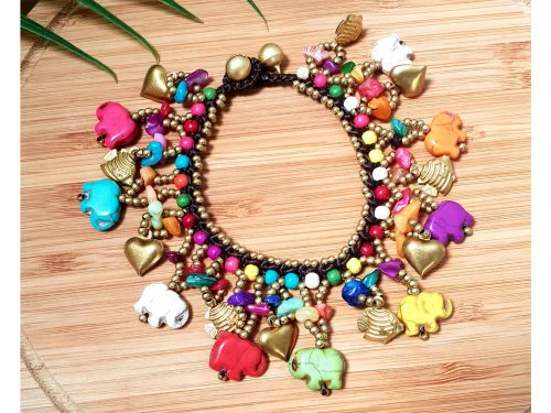 Chunky Multi Coloured Elephant Carving Bracelet