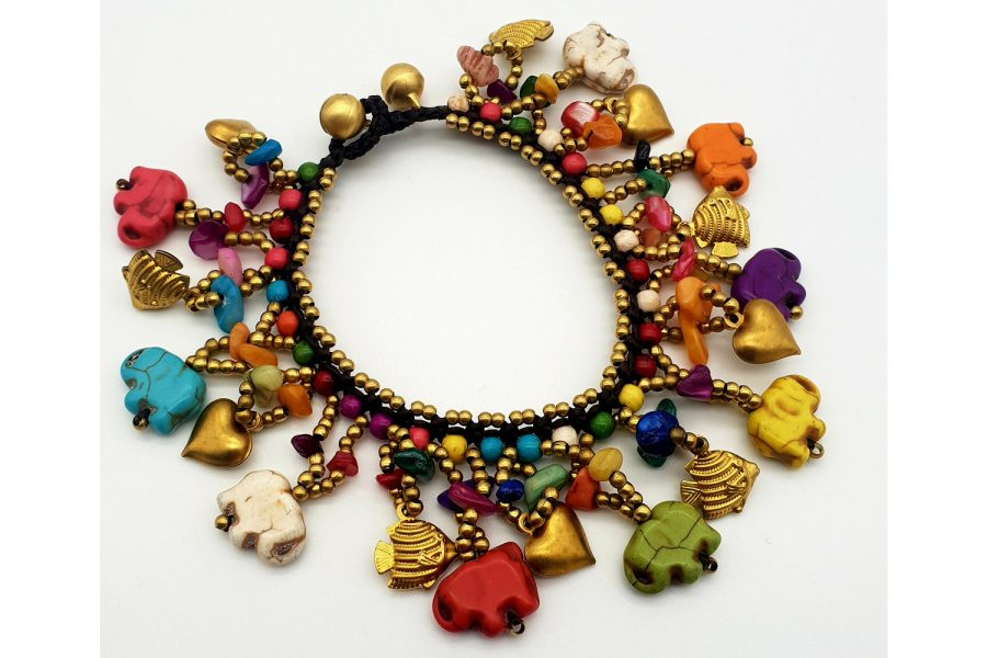 Chunky Multi Coloured Elephant Carving Bracelet View 1