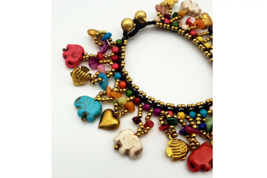 chunky multi coloured elephant carving bracelet view2