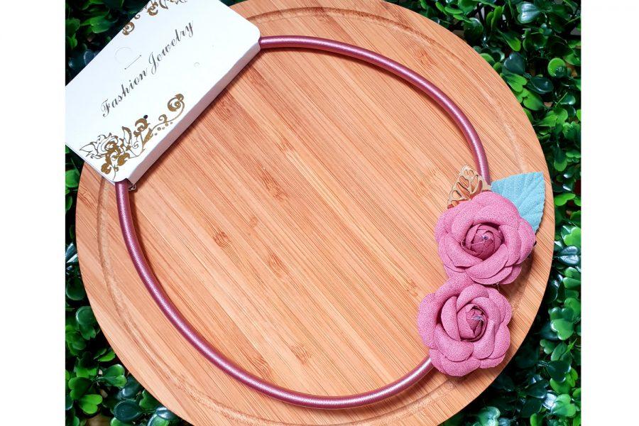 Elegant Rose Pendant Choker Necklace Front