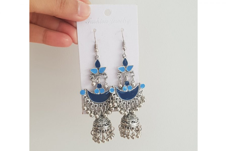 Ethnic Indian Style Long Jhumki Earrings Front(Blue)