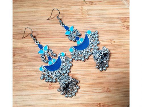 Ethnic Indian Style Long Jhumki Earrings (Blue)