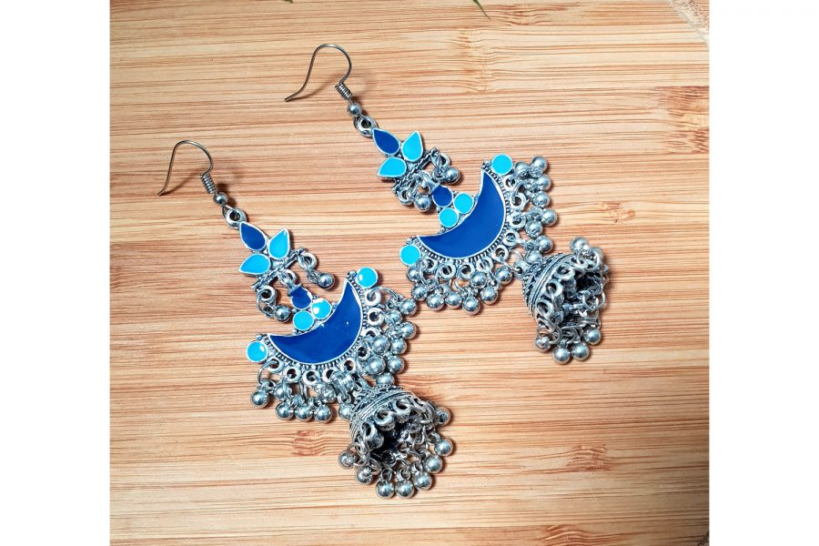 Ethnic Indian Style Long Jhumki Earrings (Blue)
