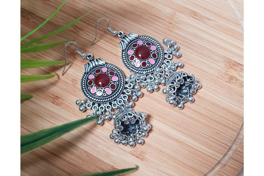 Ethnic Vintage Silver Plated Drop Earrings
