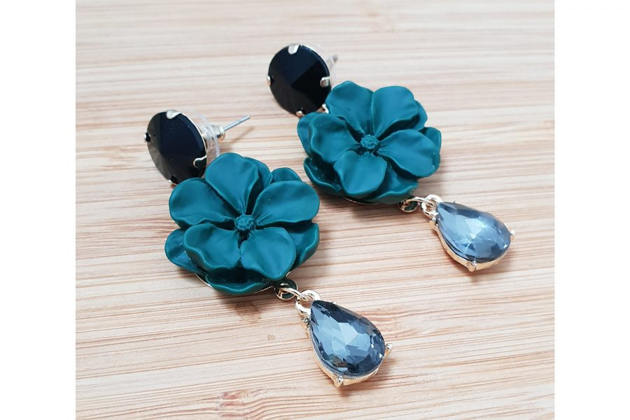 Flower Earrings with Crystal Droplet View1