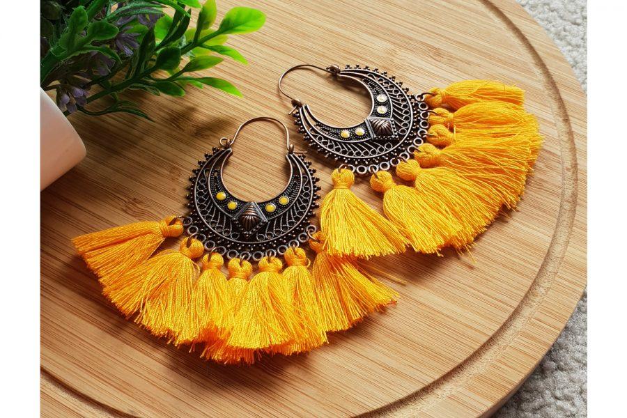 Handcrafted Tassel Earrings Vintage Boho Style