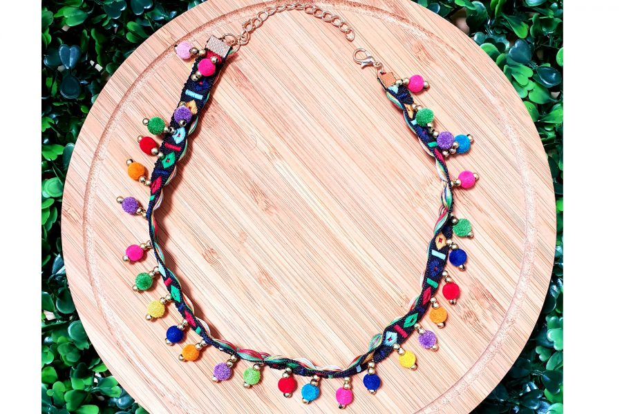 Hippie Style Embroidered Colourful Choker Necklace