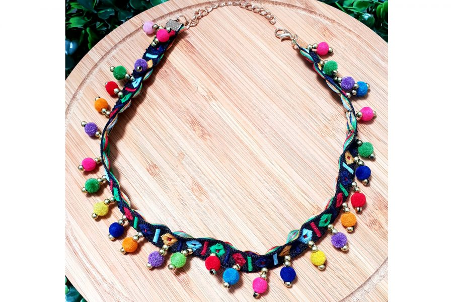Hippie Style Embroidered Colourful Choker Necklace Front
