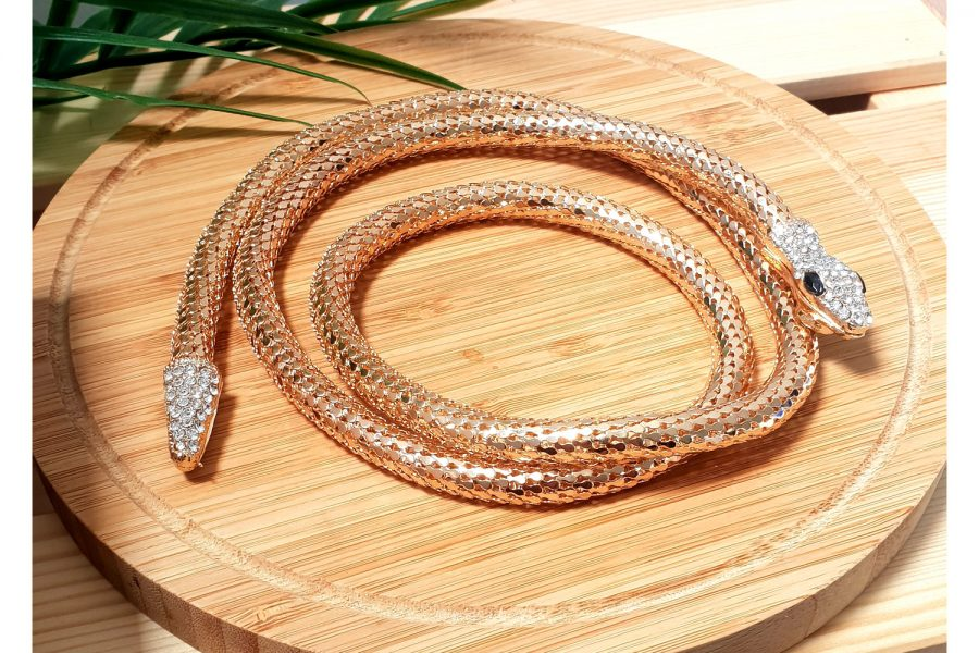 Luxury Gold Colour Snake Chain Rhinestone Studded