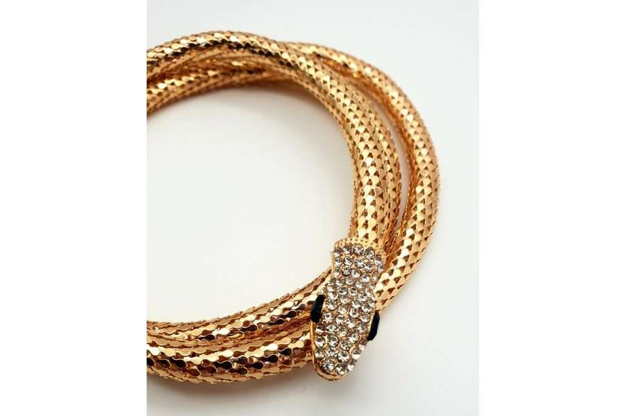 Luxury Gold Colour Snake Chain Rhinestone Studded Side view 1