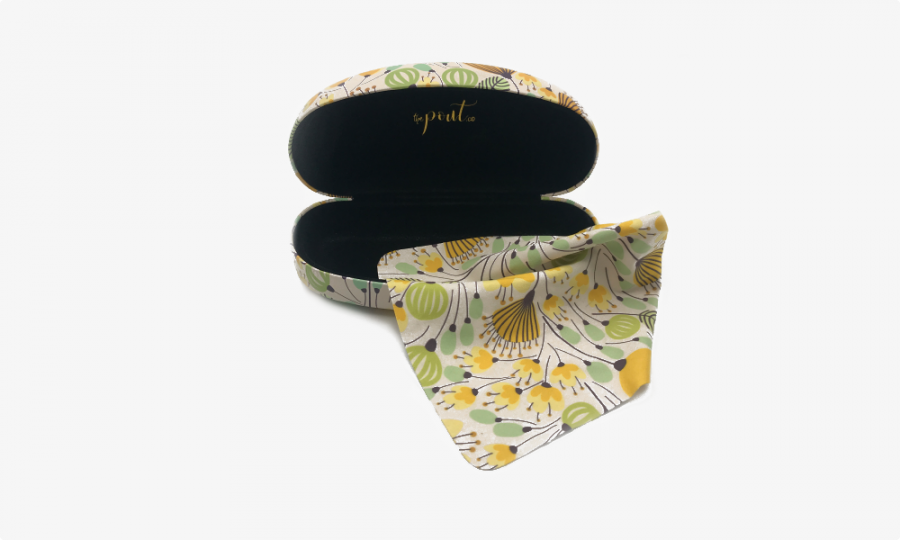 yellow blossom floral sunglasses case hard 3