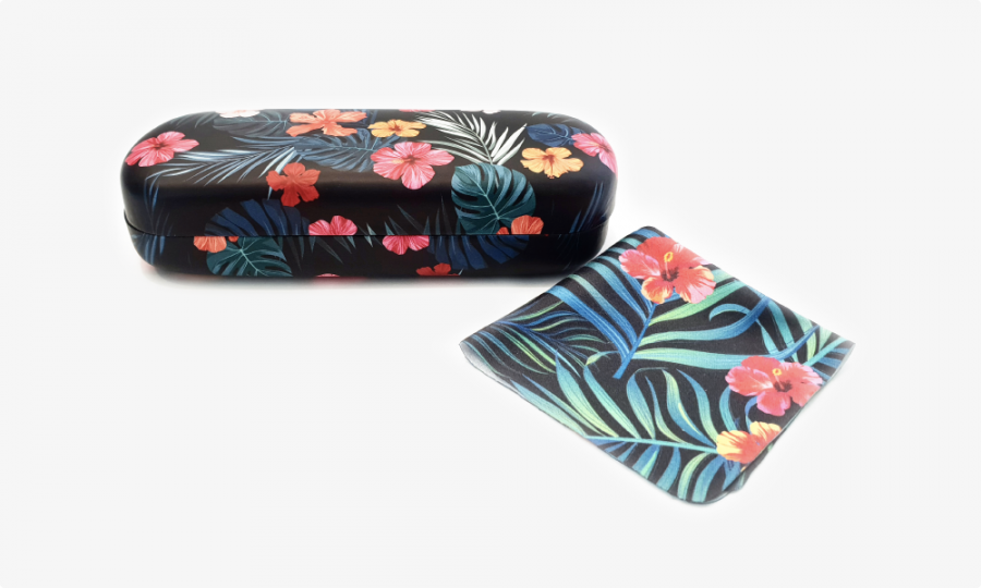 tropical affairs floral glasses case hard 2