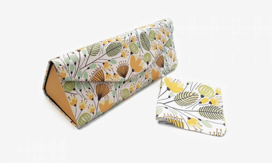 yellow blossoms floral glasses case foldable 1