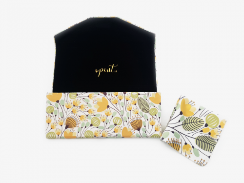 yellow blossoms floral glasses case foldable 3