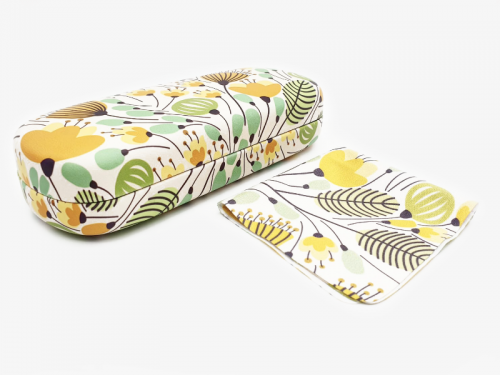 yellow blossoms floral glasses case hard 1