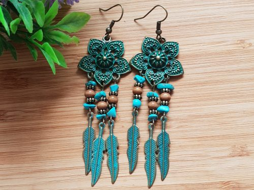 Rustic Turquoise Dangle Drop Earrings