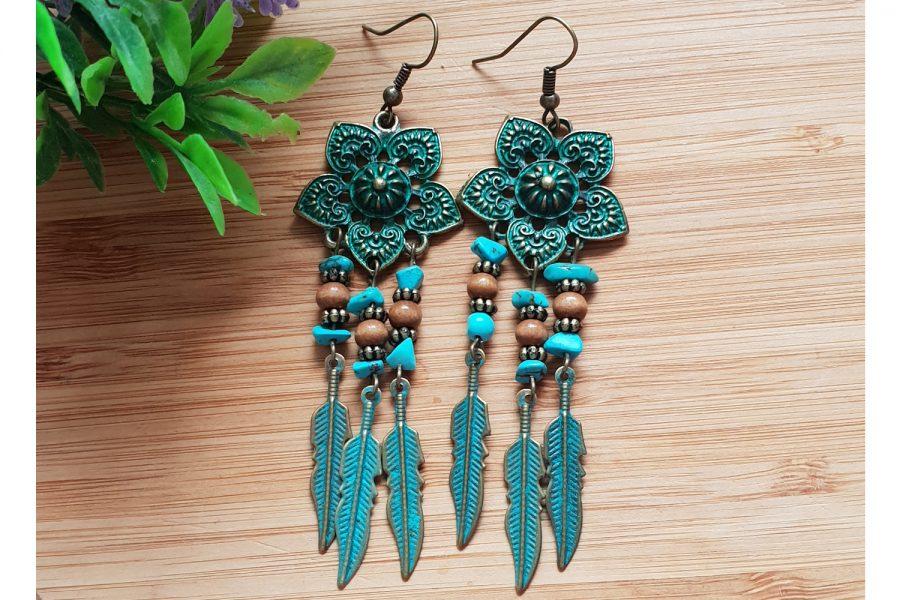 Rustic Turquoise Dangle Drop Earrings