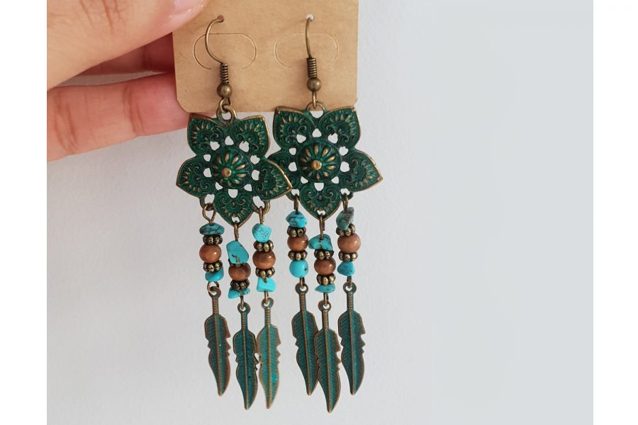 rustic turquoise dangle earrings front