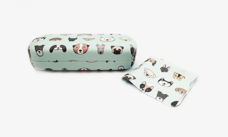 all dogs hard glasses case front