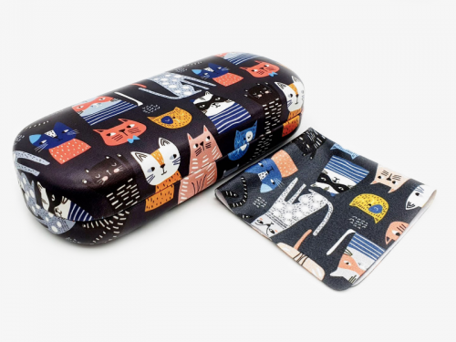 Crazy Cats hard glasses case profile