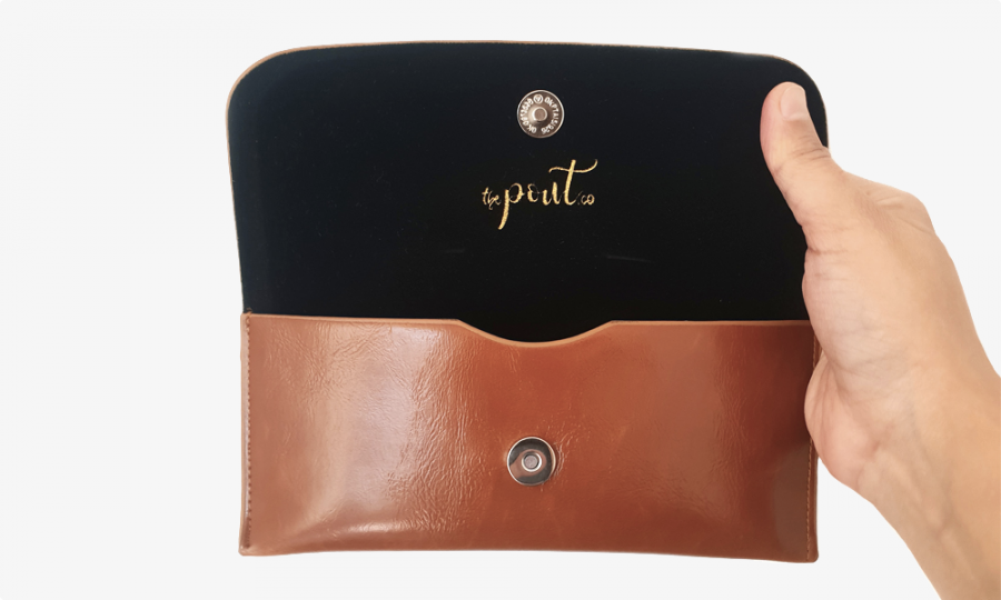 classy leather case open