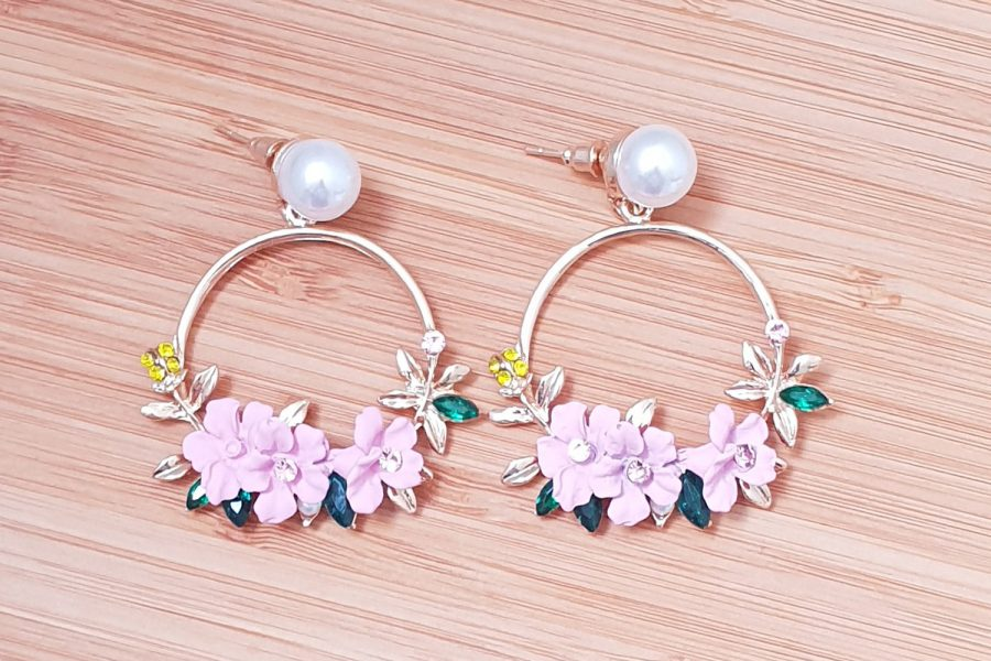 pink flower circle earrings with pearl stud