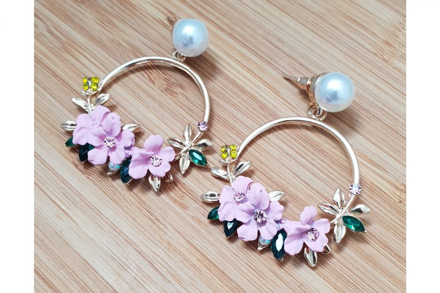 pink flower circle earrings with pearl stud side view
