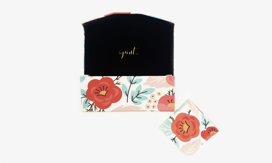 red flower glasses case
