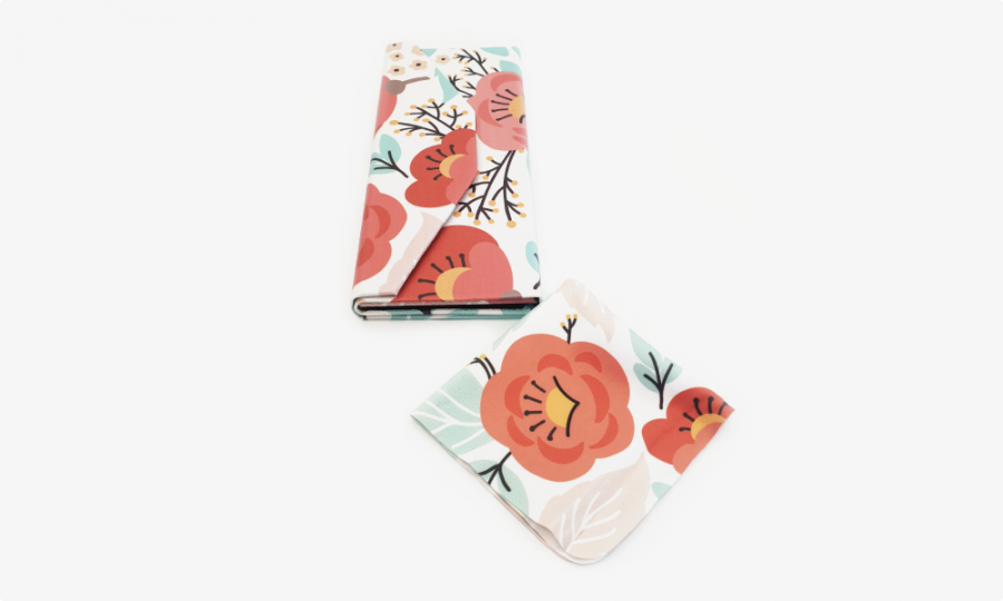 red flower folding glasses case