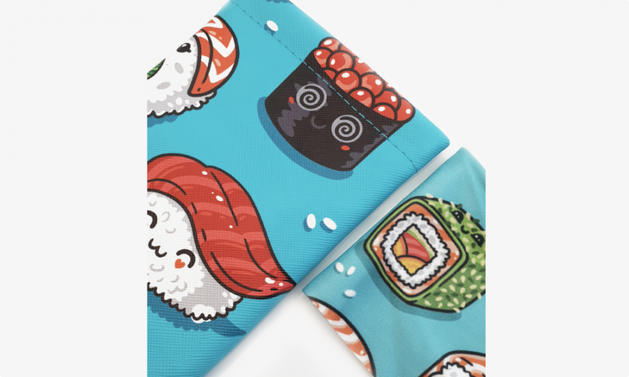 sushi rolls soft pouch case closeup