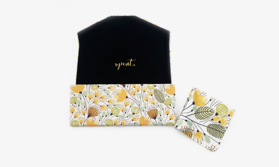 yellow blossoms folding case open