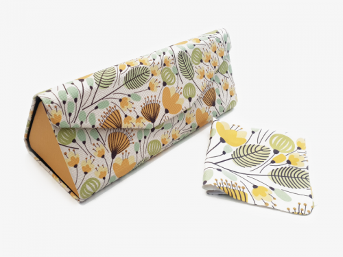 yellow blossom folding glasses case profile