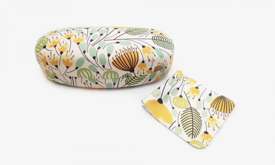 yellow blossoms sunglass case front