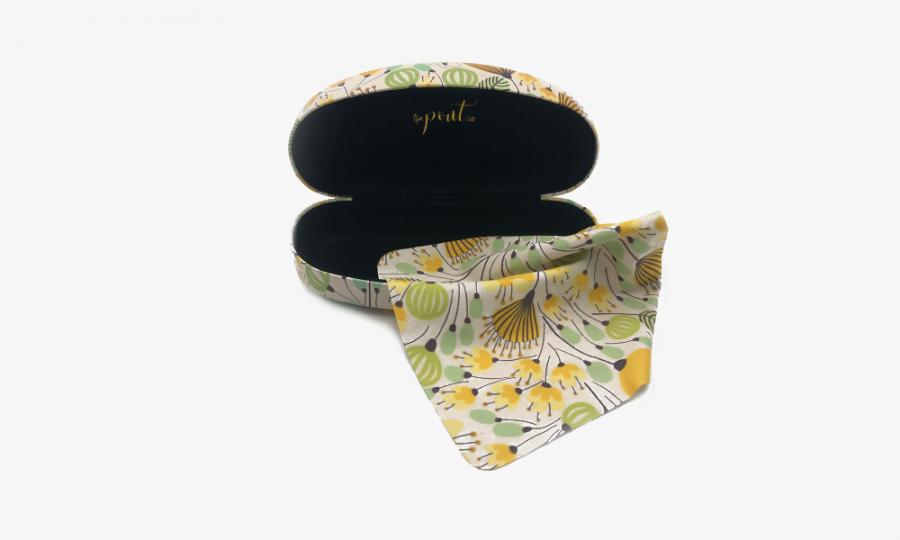 yellow flower sunglasses case