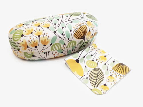 yellow blossoms sunglasses case profile
